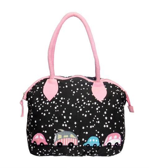 Black Stars & Cars canvas overnight bag