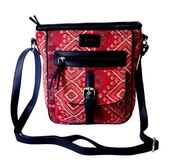 Red Jewel tapestry front pocket across body bag