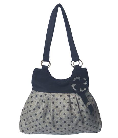 Grey flower polka dot shoulder bag