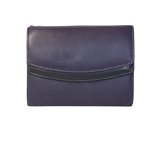 Purple Real leather double curved flap purse