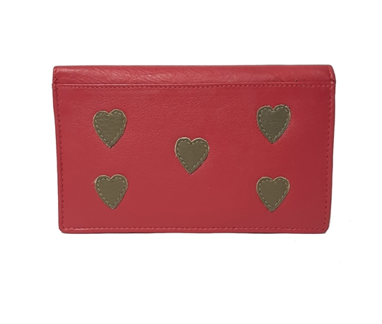 Red Real leather hearts applique purse
