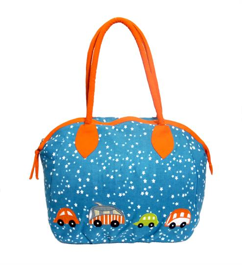 Turquoise Stars and Cars canvas overnight bag