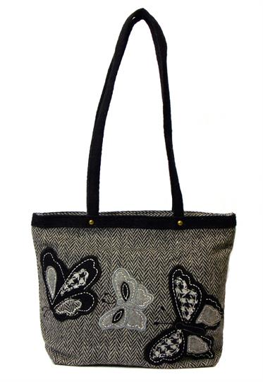 Grey Herringbone butterflies mini shopper