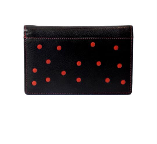 Black Real leather dots cut out purse