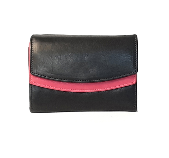 Black Real leather double curved flap purse