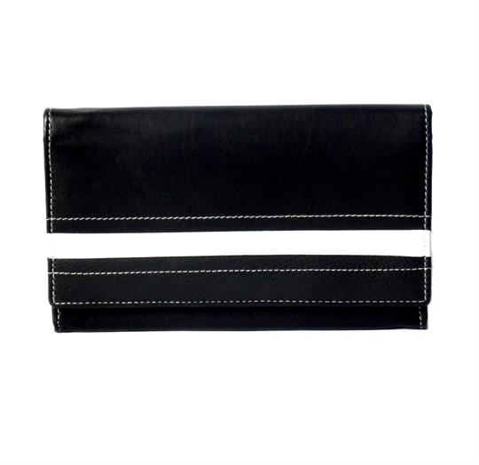 Black Real leather stripe applique purse