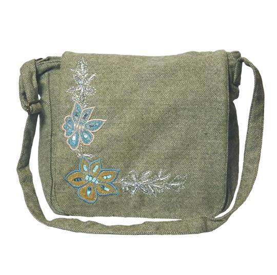 Olive flowers embroidery tweed wool across body satchel
