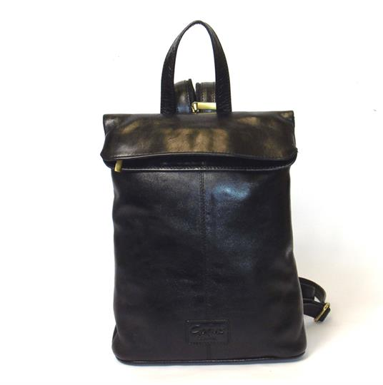 Black Veg tanned real leather rucksack