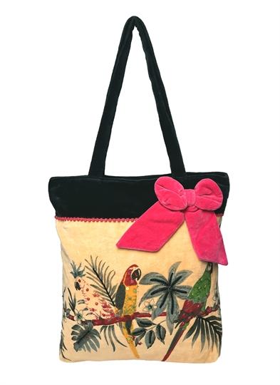 Black Parrot fashion velvet embroidered bag