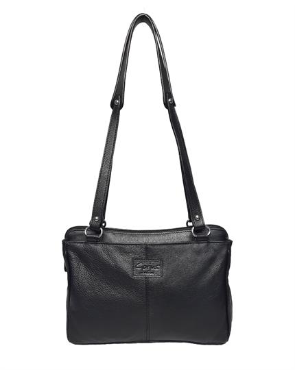 Black leather three compartment shoulder bag