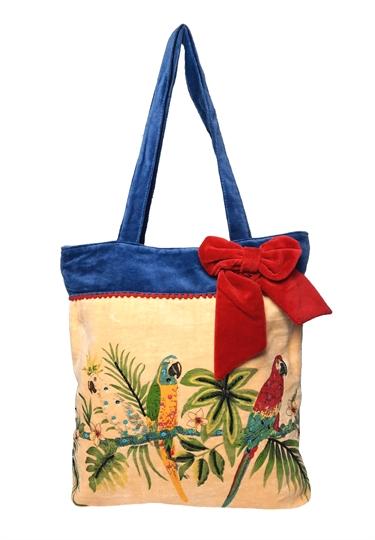 Blue Parrot fashion velvet embroidered bag