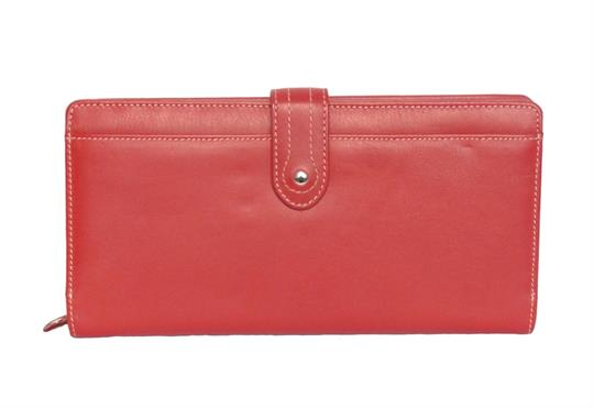Red Real Leather Large loop closure purse