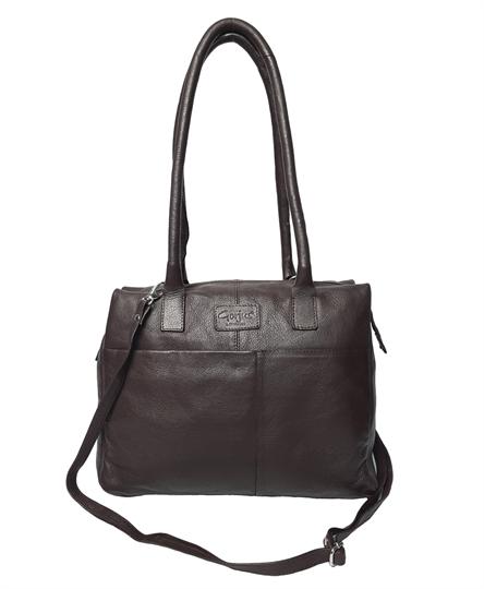 Brown leather front pouch pocket shoulder bag