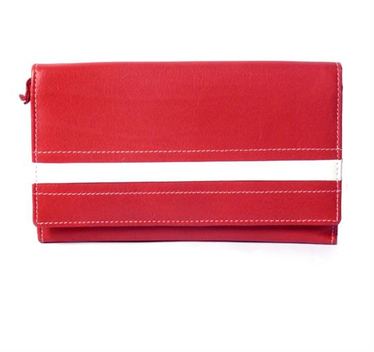 Red Real leather stripe applique purse