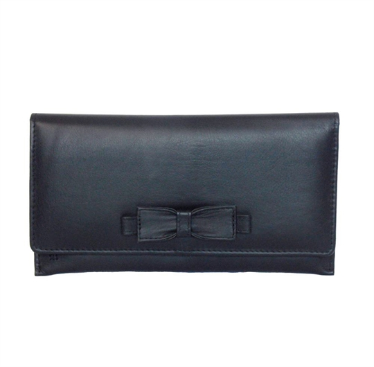 Black Real leather large bow purse
