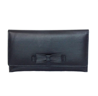 Real leather large bow purse