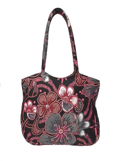 Black Flower power canvas shopper bag