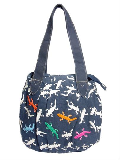 Navy Blue Gecko print canvas bag