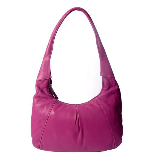Pink leather hobo bag with front pleat