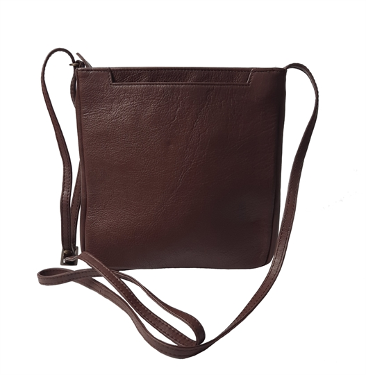 Brown leather front jet pocket across body bag