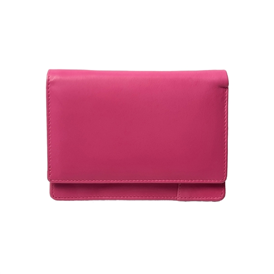 Pink Real leather plain flap over purse