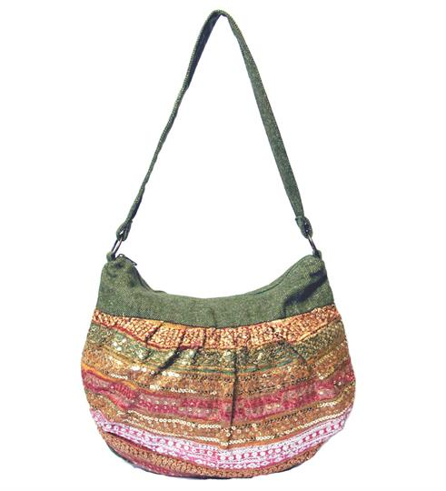 Olive Sparkles tweed shoulder bag