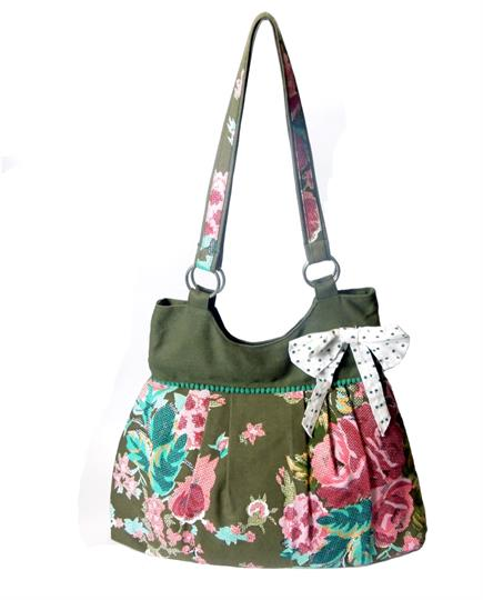 Olive Bow and flower bag
