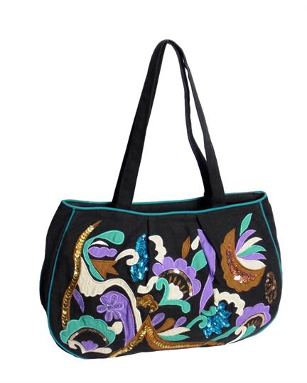 Black Tropical abstract shopper bag