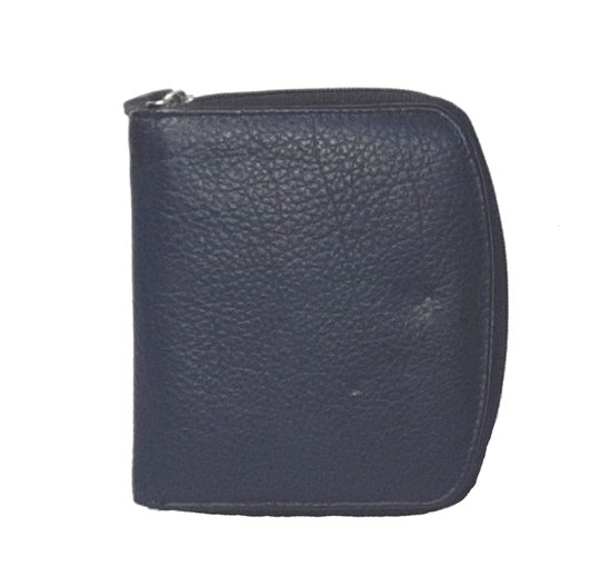 Navy Blue leather curved edge purse