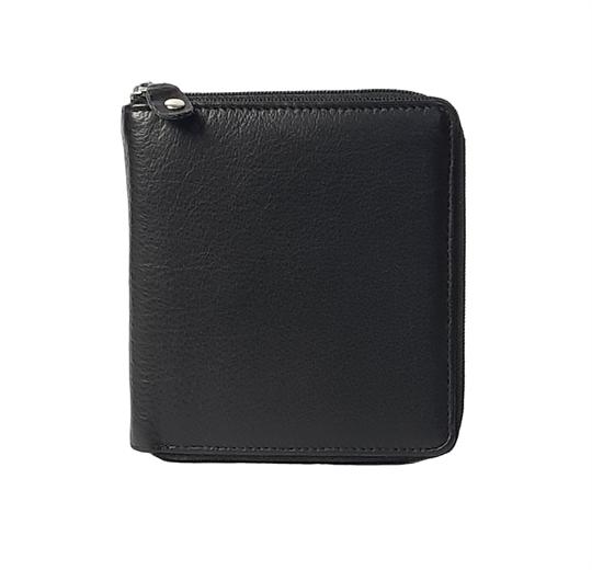 Black leather all around zip purse
