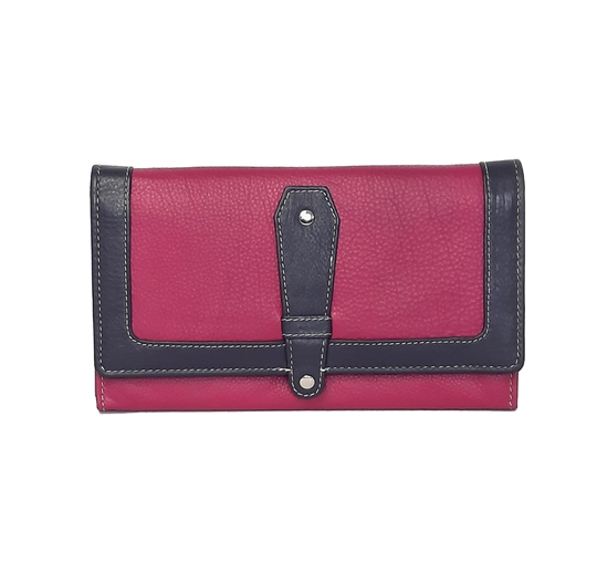 Pink Real leather contrast flap over purse