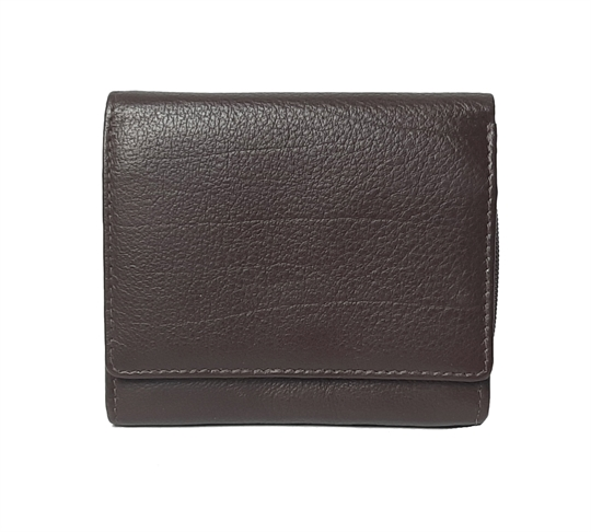 Brown small leather square flap over purse
