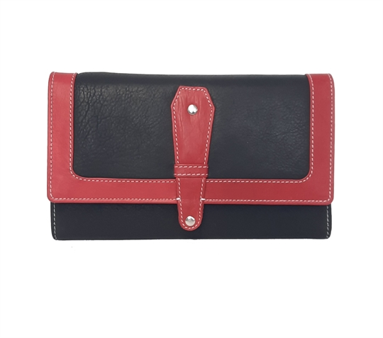 Black Real leather contrast flap over purse
