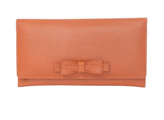 Orange Real leather large bow purse