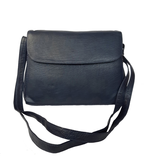 Navy Blue leather across body organiser bag
