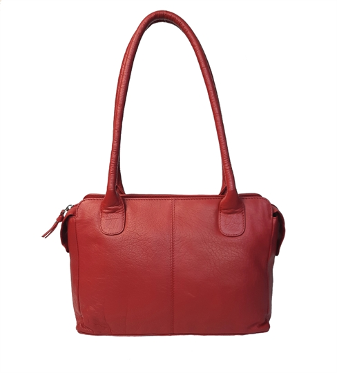 Red leather medium tote bag