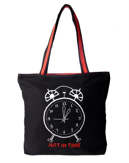 Black Just In Time Canvas Shopper