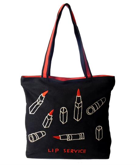 Black Lip Service Canvas shopper