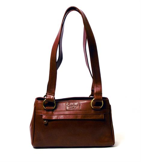 Brown Veg tanned real leather small front zip pocket bag