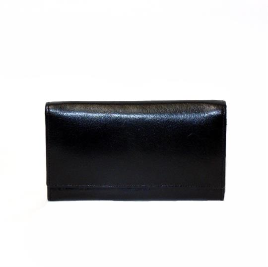 Black Veg tanned real leather flap over purse