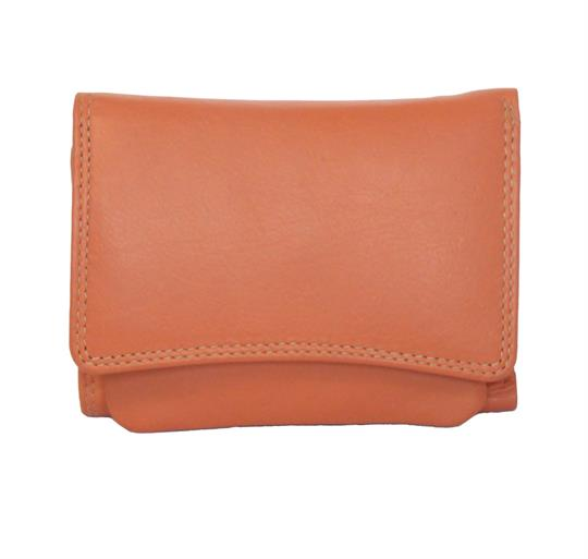 Real leather curved front flap orange purse