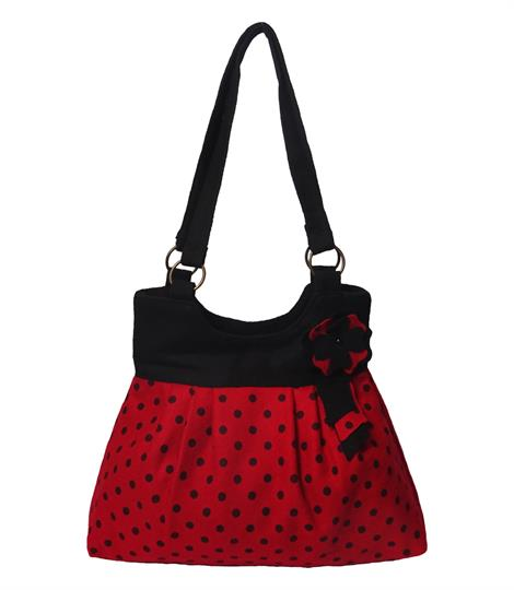 Red flower polka dot shoulder bag