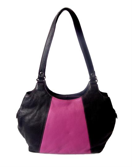 Black Real leather two tone front panel shoulder bag