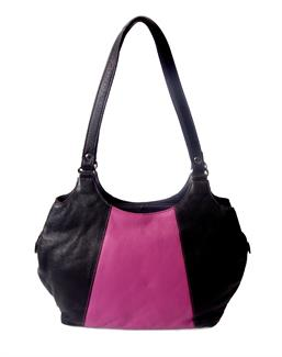 Real leather two tone front panel shoulder bag