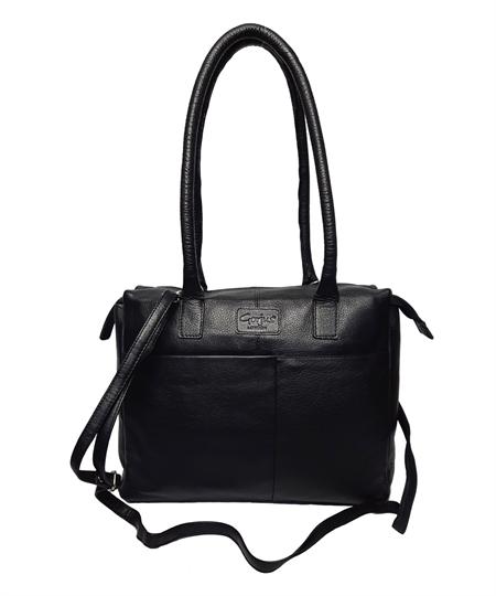 Black leather front pouch pocket shoulder bag
