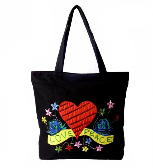 Black Love and Peace Canvas shopper