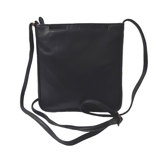 Black leather front jet pocket across body bag