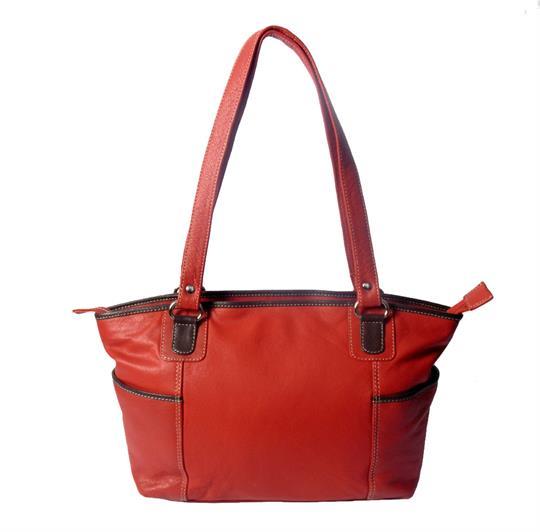 Red leather shoulder bag with side pockets