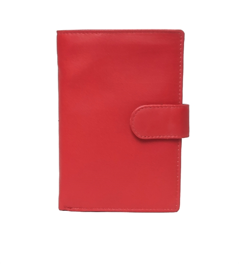 Red Real leather popper closure purse