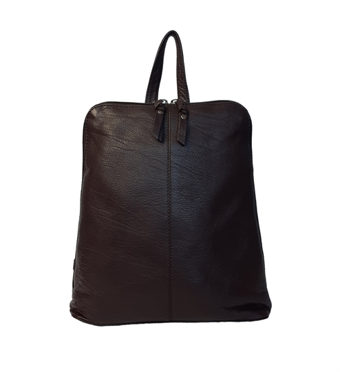 Brown leather front stitch backpack